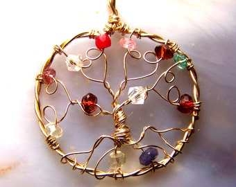 Family Tree Genuine Faceted gemstones - gold Birthstone necklace pendant - small Tree of Life mother grandmother - personalized gift for mom