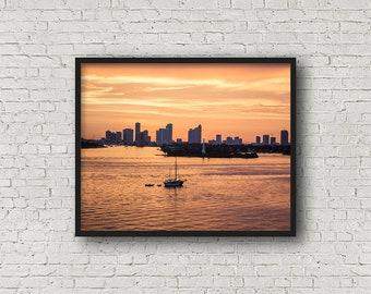 Miami Bay Print Digital Download / Fine Art Print/ Wall Art / Home Decor / Color Photograph/ Travel Photography
