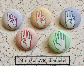 REDUCED from 7.50 Set of 5 Counting Finger Buttons Perfect for Children's Clothing