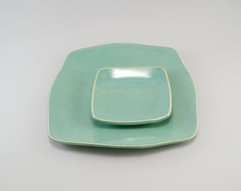 Ceramic Plate, Appetizer Set, Tapas Plate, Plate Set, Celadon Plate, Ready to Ship.