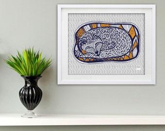 Sleeping Fox Giclee Art Print 8x10
