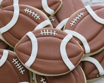 Football Decorated Sugar Cookies, Boys Birthday Cookies, Sports Cookies, Football Party, Superbowl Cookies