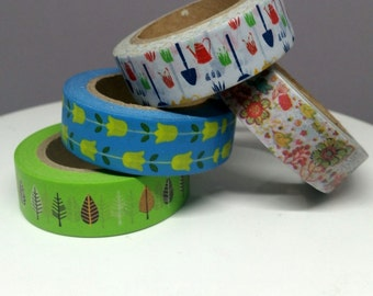 Washi tape samples - Garden tools, yellow tulips, leaves, or flower and birds washi tape - 24 inch washi sample