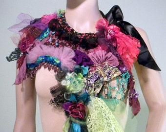 Sale - ELEGANT BOHEMIAN NECKLACE - Wearable Fiber Art Jewelry, Richly Boho Tattered, Freeform Crocheted & Embroidered, Adjustable Length