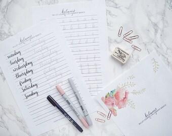 Bullet Journal Modern Calligraphy Brush Lettering Practice Sheets