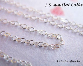 1-500 ft, Sterling Silver Chain Bulk, Flat Cable Chain / 2x1.5 mm, wholesale jewelry making chain ss s88 llf tpc ib hp