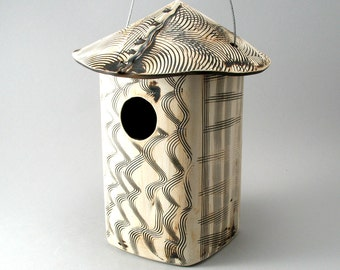 Bird House, Ceramic Bird House, Textured Stoneware, Garden Decor, Garden Art