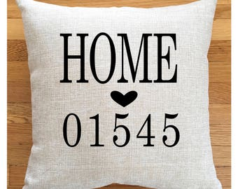 HOME Zip Code Custom Pillow, Personalized Pillow, Toss Pillow, Family Pillow, Hometown Gift, Hometown Pillow, House Warming Gift