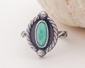 Kingman Turquoise Stacking Ring, Size 7 1/2 Sterling Silver Stone Ring, Pattern Band, Hand Fabricated Bohemian Style