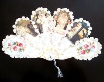Wedding Fan Card Turn of the Century Bride Groom Greetings
