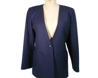 vintage 1980's YVES SAINT LAURENT jacket / rive gauche Paris / navy blue / wool / 80s blazer / women's vintage jacket / tag size 40