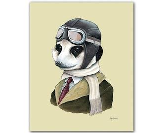 Meerkat Portrait animal art print by Ryan Berkley 5x7
