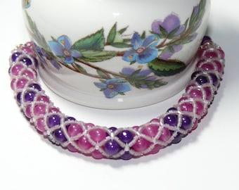 Spectacular Purple & Rose Woven Netted Rope Beaded Handmade Bracelet