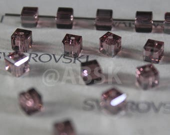 12 pcs Swarovski Elements - Swarovski Crystal 5601 4mm CUBE - BLUSH ROSE