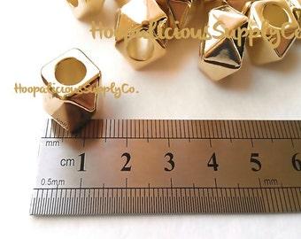 20 große Cubed Spacer Perlen - glänzend GOLD farbigen Acryl - beliebt bei Reifen Trend
