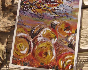Harvest  Autumn Fine Art Greeting Card - Individual 5 x 7 inches from Original Painting