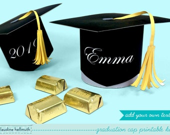 graduation cap - favor box holds candy, gift cards and treats party printable PDF kit - INSTANT download