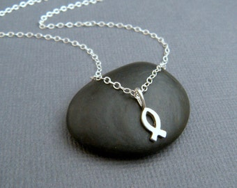 super tiny silver Christian fish necklace. sterling silver ichthys pendant. ixthus icthus. Jesus. faith symbol religious jewelry cross alt