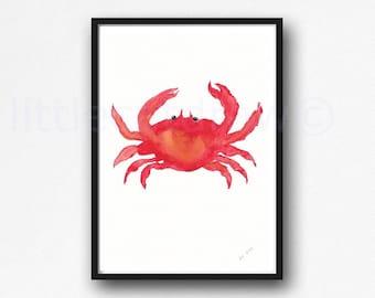 Crab Print Watercolor Painting Print Nautical Print Sea Decor Beach Wall Art Bathroom Wall Decor Crab Decor Home Decor Art Print