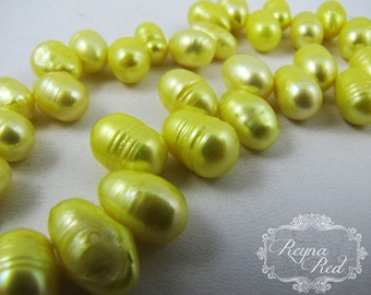 Bright Canary Yellow Top Drilled Dyed Freshwater Pearl Beads, yellow pearls, potato pearls, beading, jewelry making - reynaredsupplies