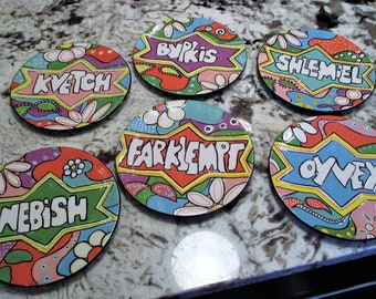 "6 Vintage YiddishWare Whimsical 8"" Dessert Plates"