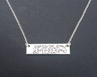Latitude and Longitude Necklace - Custom Coordinates Necklace - Gifts For Her - Location Necklace - Wedding Fifth Anniversary Gifts