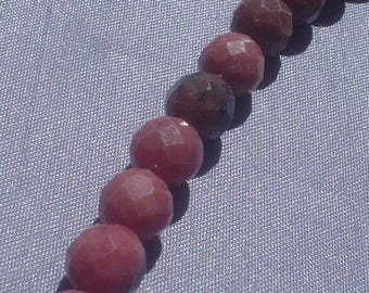 natural gemstone rosy pink rhodonite facet round bead 8 mm / 7.5 inch