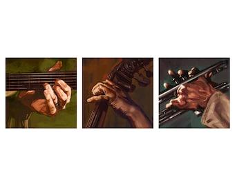 Set of 3 Music Themed Art - Fine art prints