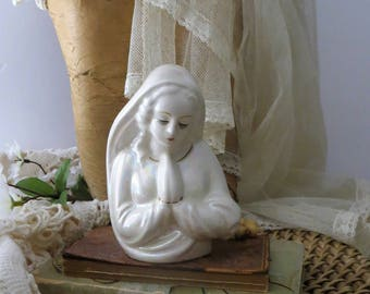 Vintage Iridescent Porcelain Virgin Mother Mary Madonna Praying Hands Planter Vase