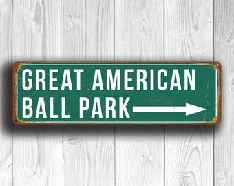 GREAT AMERICAN BALL Park Sign, Home of Cincinnati Reds, Vintage style Great American Ball Park Sign, Baseball Gifts, Cincinnati Reds Signs