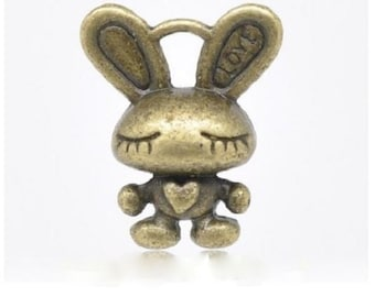 8 Small Love Bunny Charms in Bronze Tone 3 D Rabbit Valentine Bunnies Charm Jewelry Supplies 16x13mm