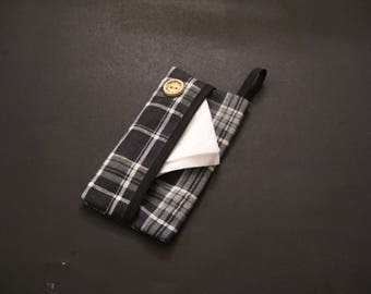 TISSUE CASE - black checkered tissue case - black checkered tissue cover - pocket tissue cover - pocket tissue case - travel tissue case -