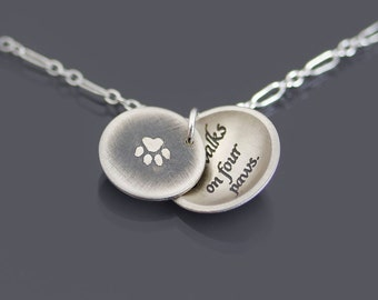Sterling Silver Love Walks on Four Paws Necklace