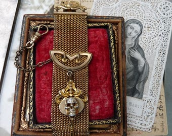 ON HOLD:  Antique Victorian Ladies Memento Mori Skull & Cross Mesh Watch Fob, Talisman for the Alchemist, by RusticGypsyCreations