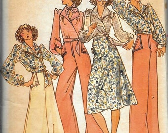 Butterick 4099 Vintage 1970s JANE TISE Designer Wrap Blouse, Skirt And Pants Sewing Pattern UNCUT Size 16 Bust 38