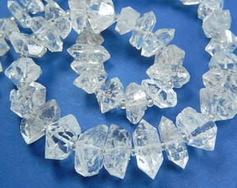 Herkimer Diamond Bead. Crystal Center-Drilled Herkimer Diamond. Double Terminated. Semi Precious Gemstone. 10- 17mm. Select Quantity (j7hk2)