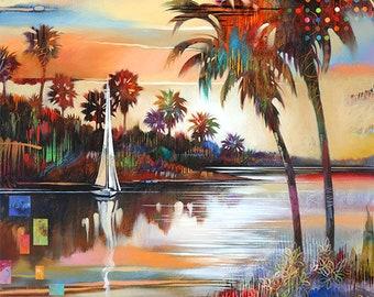 Tropical Landscape Canvas Print • WHISKEY CREEK • Abstract Landscape Art • Contemporary Landscape  Reproduction • Florida Print