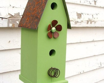 Rustic Cottage Birdhouse Outdoor Garden Bird House Functional Birdhouses Outdoor Birdhouses Lime Green