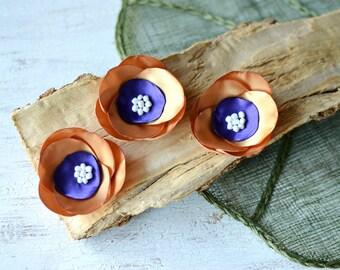 Satin fabric flowers, silk flower appliques, small roses, satin wedding flowers, bulk flower embellishment (3pcs)- GOLD and AMETHYST PURPLE