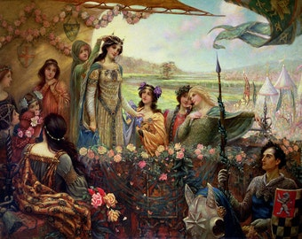 James Herbert Draper: Lancelot and Guinevere. Fine Art Print/Poster. (003611)