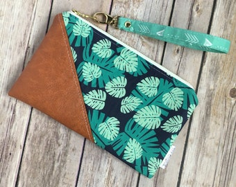 Date Night Clutch, Tropical Fabric, Monstera Fabric, Clutch Wristlet, Small Wristlet, Date Night, Wallet with Strap, Vegan Leather Clutch