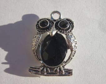 1 black and silver 27 mm OWL charm (6132).