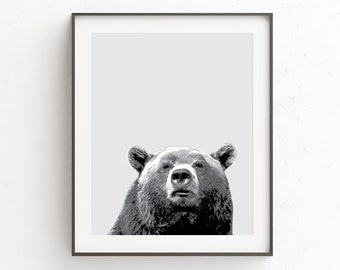 Woodland Nursery, Bear Print, Bear Art, Instant Download, Printable Art, Animal Print, Animal Art Print, Black and White Art