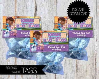 Doc McStuffins Birthday Party PRINTABLE Folding Treat Bag Tags- Instant Download   Disney Junior   Doctor McStuffins   Kisses for Boo Boos