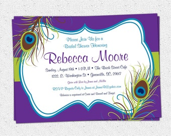 Peacock Feather Invitation Printable, Bridal Shower, Baby Shower, Birthday or Engagement Party, Elegant, DIY Digital File