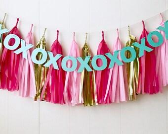 XOXO Tassel Garland- Valentines Tassel- Love Tassel - Photo Prop