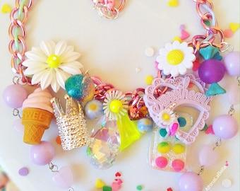 Daisy Charm Necklace, Charm Necklace, Toy Necklace, Unicorn Jewelry, Vintage Flower Necklace, Candy Necklace, Flower Necklace, Boho Necklace