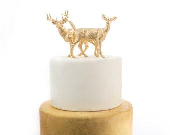 Gold Deer Cake Topper, Woodland Wedding Cake, Doe and Buck set