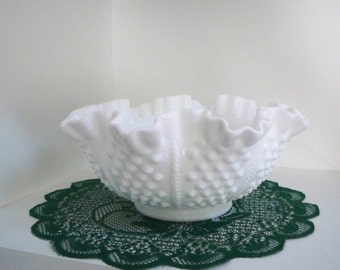 Vintage Serving Milk Glass Hobnail Bowl Fluted Rim Fenton