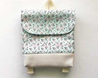 Aqua Floral Tiny Pack - Small Backpack - Toddler Backpack - Tiny Backpack - Toddler Bag - Backpack